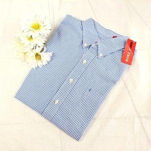NWT IZOD American Dream Blue White Gingham Shirt